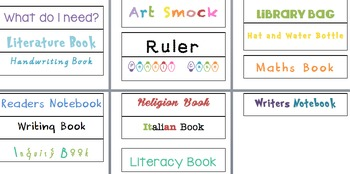 Book Labels/ what do I need- Checklist- student lesson organisation