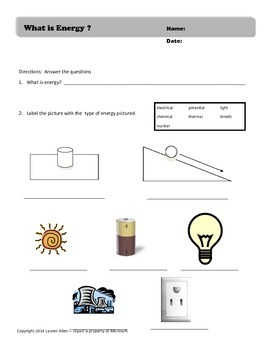 what is energy worksheet