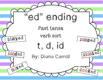 when ed says d, t ,id past tense verb sort