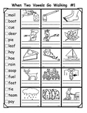 when two vowels go walking worksheets (vowel pairs)