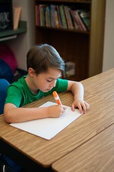 Stock Photo: Student Writing on a Whiteboard #1 -Personal