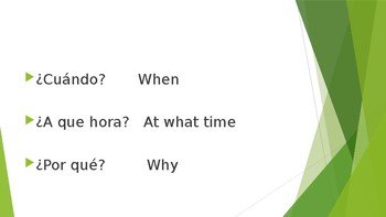 Who When Where What Why and more  in Spanish