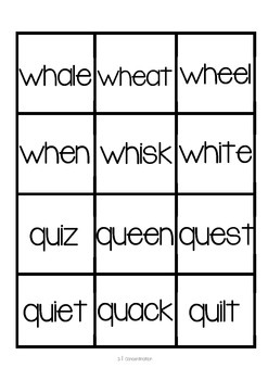 wh/qu Word Work Packet