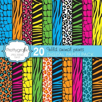 wild animal print digital paper, commercial use, scrapbook