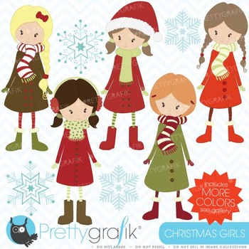 winter christmas girls clipart commercial use, vector graphics - CL443