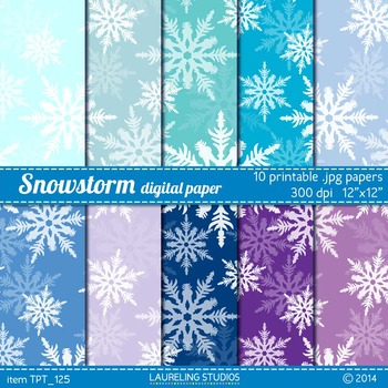 winter digital paper - printable snowflake pattern