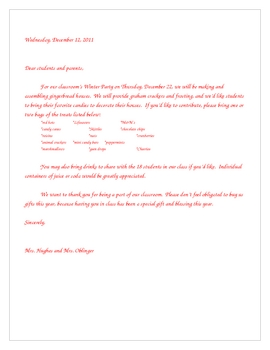 winter party parent letter for decorating gingerbread houses