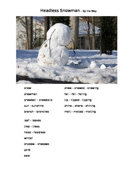 Headless Snowman - By the Way  ESOL prompt, sub plans