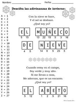Spanish Winter Riddles: Break the Code #felicesfiestas