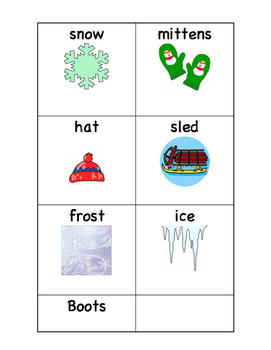 winter word cards for sorting, matching, center work