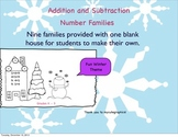 winter/snowman themed addition and subtraction number families