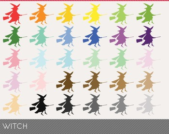 witch Digital Clipart, witch Graphics, witch PNG, Rainbow witch Digital Files