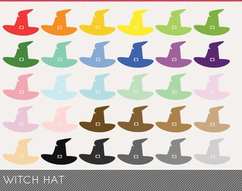 witch hat Digital Clipart, witch hat Graphics, witch hat PNG, Rainbow witch hat