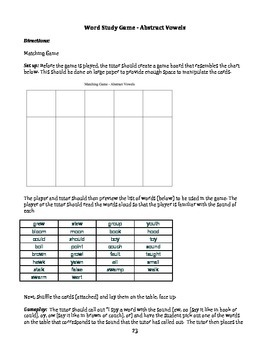 """within word stage"" word study game and list: abstract vowels"