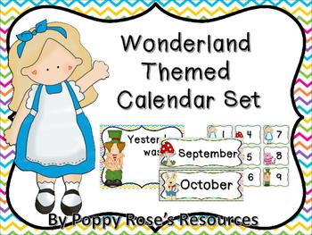 Wonderland Themed Calendar Set for Morning Routine