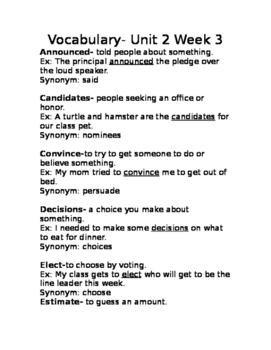 wonders Grade 3 Unit 3 week 3 vocabulary