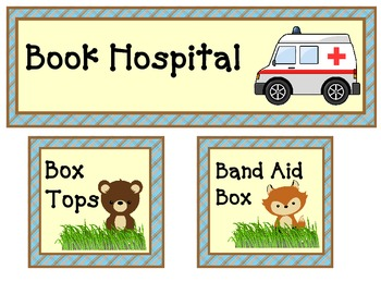 woodland theme box tops, book hospital and band aid box labels