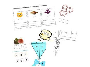 word families worksheets for kindergarten (-op, -an, -ig, -at, -et, -ip)