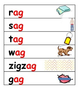 word family ag picture and word strips