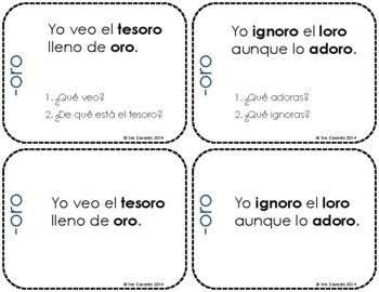 Spanish word family reading comprehension task cards