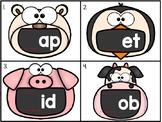 word family sliders: cvc_big mouth animal theme