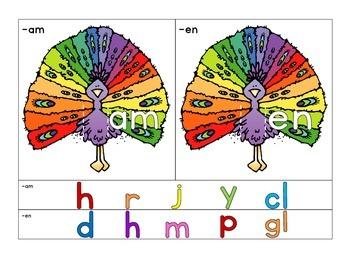 word family sliders: peacock theme