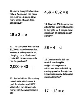 Word problems and equations center/station - EDITABLE