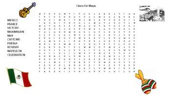 word search Cinco de Mayo