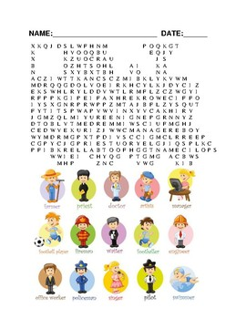 word search of careers with pictures