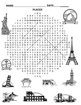 word search of places around the world