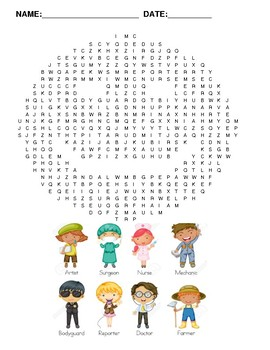 word search of professions with pictures
