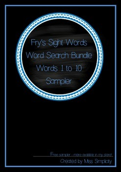 word search sleuth FREEBIE fry's sight words WORDS 1 to 10