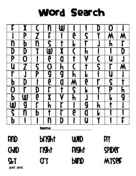 word search vowel pattern i igh y