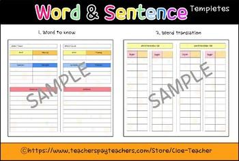 word&sentence templete