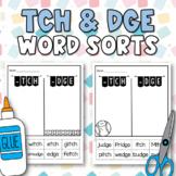 Trigraphs (tch & dge) Word Sort