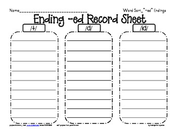 word sort: working with -ed endings