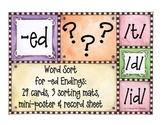 word sort: working with -ed endings