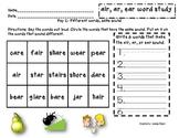 word study packet- air, ar, ear