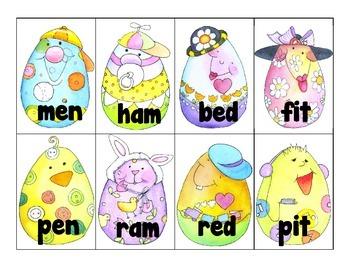 word work: cvc_rhyming pairs_easter egg theme