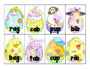 word work: cvc_rhyming pairs_easter egg theme