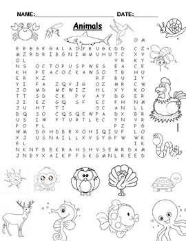 wordsearch that doubles as a coloring book -animals