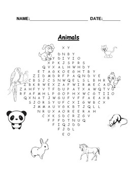 wordsearch that doubles as coloring book -animals easy