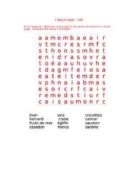 wordsearches (10) food -French