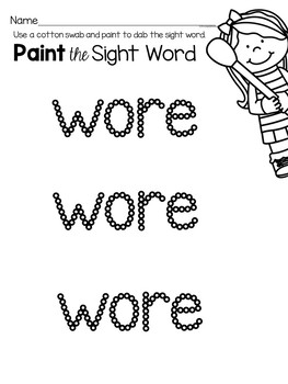 Sight Word Worksheets for the Word Wore