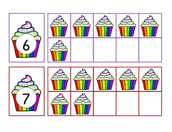 working with ten frames: rainbow cupcakes