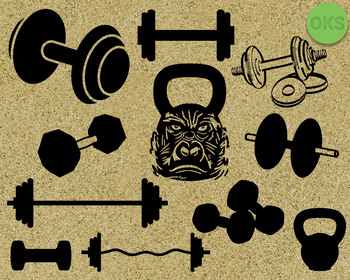 workout gym weights, kettlebell, dumbbell, barbell SVG cut files, DXF, vector