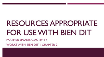 works w/ Bien Dit 1 ch. 2 : def. and indef. articles speaking activity