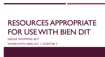 works w/ Bien Dit 1 ch. 7 : shopping skit