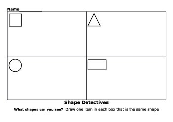 worksheet 2D shapes in the environment