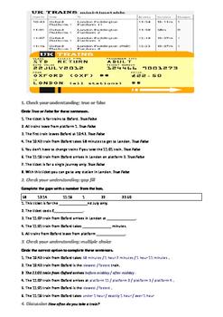worksheet English train timetables